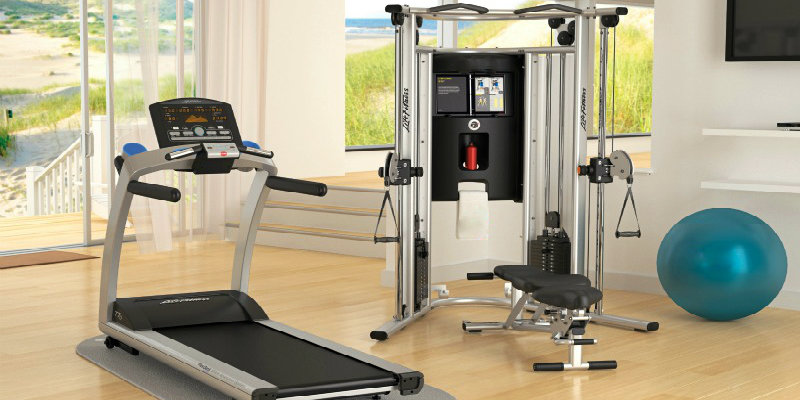 Home gym equipment in a room