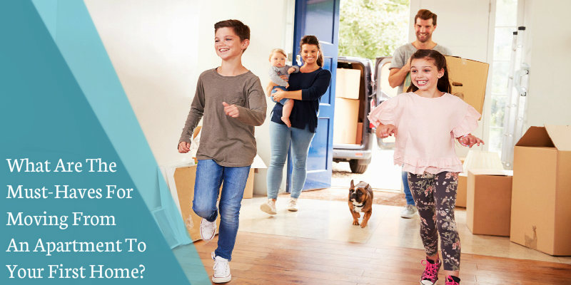 happy family entering their new house