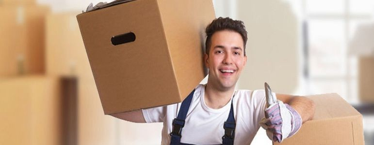 young professional with a cardboard box posing for a picture